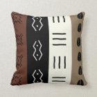Earthy Tones Mudprint Stripes Pattern Throw Pillow