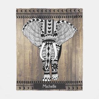 Earthy Wooden Planks Tribal Patterned Elephant Fleece Blanket
