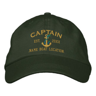 Easily Personalize This Captain Rope Anchor Style Embroidered Baseball Caps