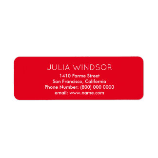 easily read & plain, simple red return address label