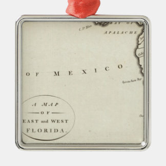 East and West Florida Silver-Colored Square Ornament