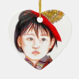 East Asian Child Ceramic Heart Ornament