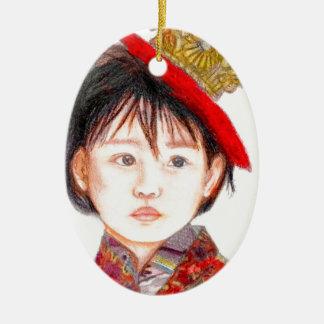 East Asian Child Ceramic Oval Ornament