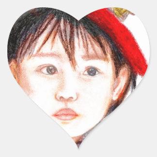East Asian Child Heart Sticker