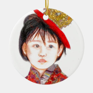 East Asian Child Round Ceramic Ornament