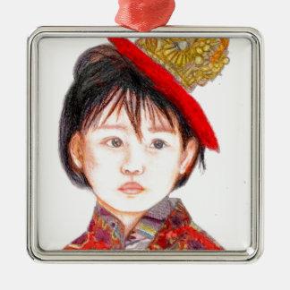East Asian Child Silver-Colored Square Ornament