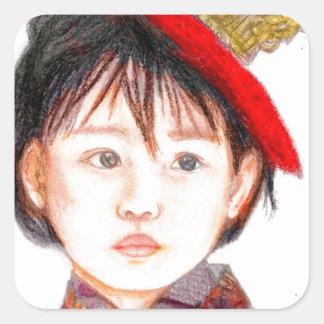 East Asian Child Square Sticker