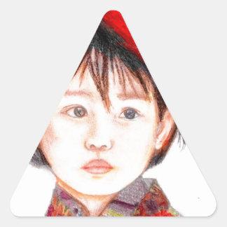 East Asian Child Triangle Sticker