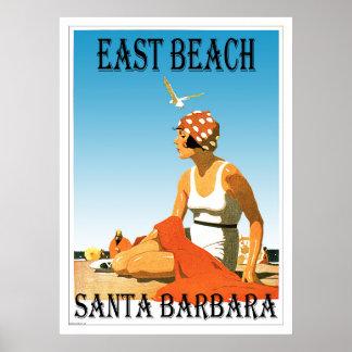 East Beach Santa Barbara, California Retro Beach 1 Poster