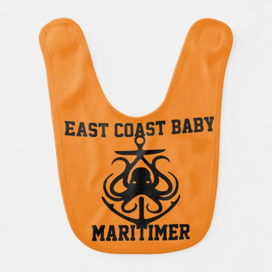 East Coast baby Maritimer anchor octopus orange Bibs