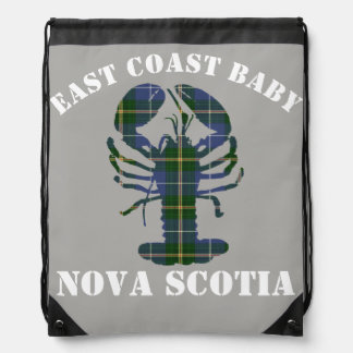 East Coast Baby Nova Scotia Lobster Tartan grey Drawstring Bag