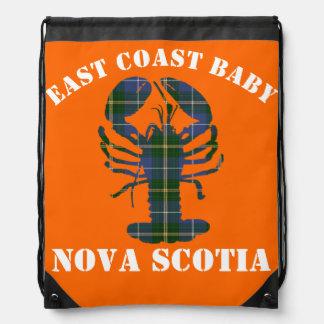 East Coast Baby Nova Scotia Lobster Tartan orange Drawstring Bag