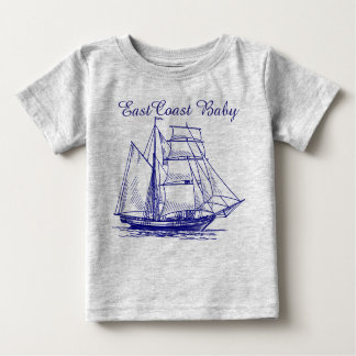 East Coast Baby sailboat ship schooner  nautical Baby T-Shirt