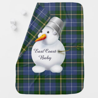 East Coast Christmas snowman Nova Scotia Tartan Baby Blanket