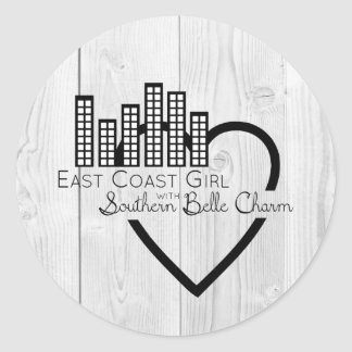 East Coast Girl with Southern Belle Charm Classic Round Sticker