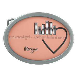 East Coast Girl with Southern Belle Charm Oval Belt Buckle