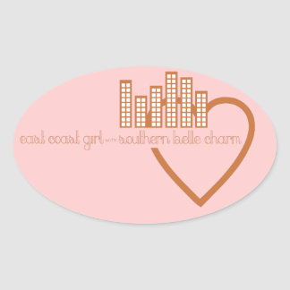East Coast Girl with Southern Belle Charm Oval Sticker