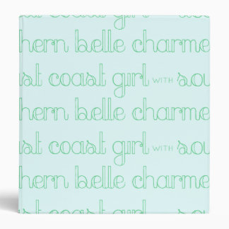 East Coast Girl with Southern Belle Charm Vinyl Binder