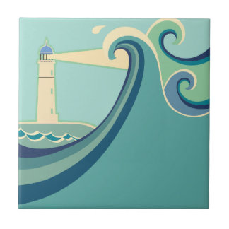 East Coast Lighthouse with Waves Ceramic Tiles