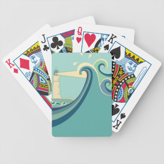 East Coast Lighthouse with Waves Poker Deck