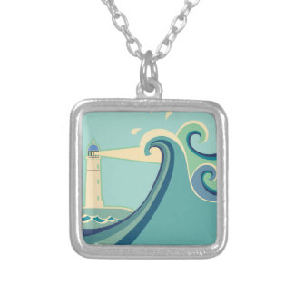 East Coast Lighthouse with Waves Silver Plated Necklace