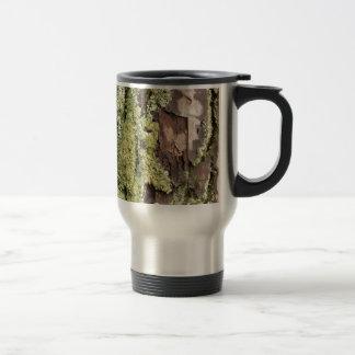 East Coast Pine Tree Bark Wet From Rain with Moss Travel Mug