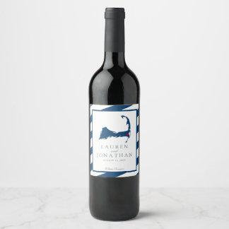 East Harwich Cape Cod Map w/ Blue Stripes Wedding Wine Label