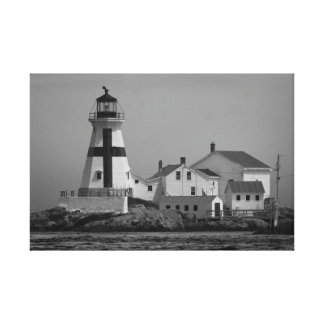 East Quoddy Lighthouse Black & White Canvas Print