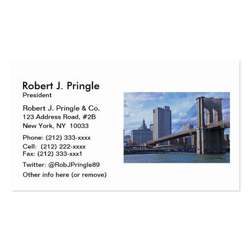 East River: Brooklyn Bridge & Municipal Building Business Card Template