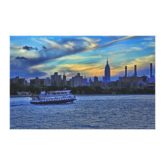 East River View of Sunset Over the NYC Skyline Canvas Print