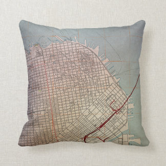 East San Francisco Topographic Map Throw Pillow