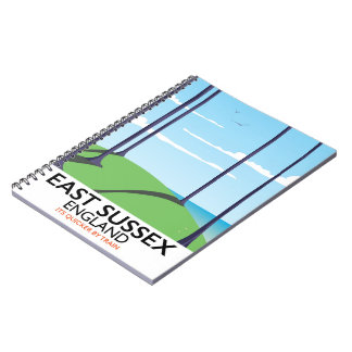 East Sussex, England train poster Notebook