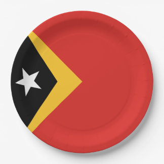 East Timor Flag 9 Inch Paper Plate