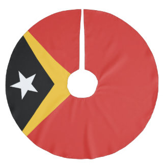 East Timor Flag Brushed Polyester Tree Skirt