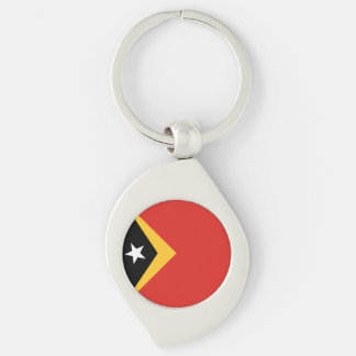 East Timor Flag Silver-Colored Swirl Keychain