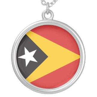 East Timor Flag Silver Plated Necklace