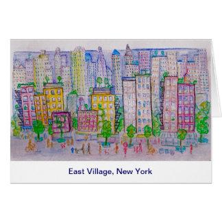 East Village, New York, Skyline, Street scene Card