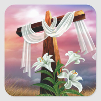 Easter and Palm Sunday Crosses and Scenes Square Sticker