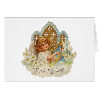 Easter Angel with Harp - Card
