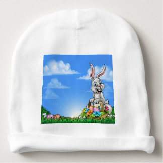 Easter Background with Bunny and Eggs Baby Beanie