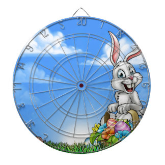 Easter Background with Bunny and Eggs Dartboard