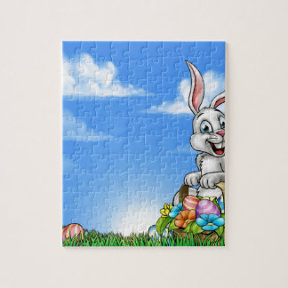 Easter Background with Bunny and Eggs Jigsaw Puzzle