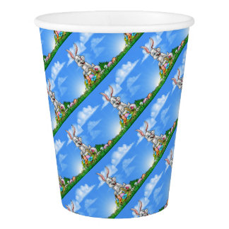 Easter Background with Bunny and Eggs Paper Cup