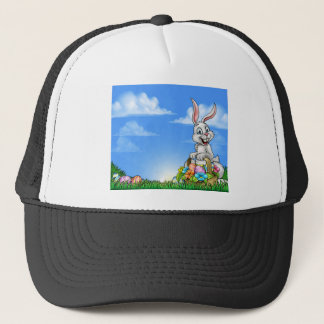 Easter Background with Bunny and Eggs Trucker Hat