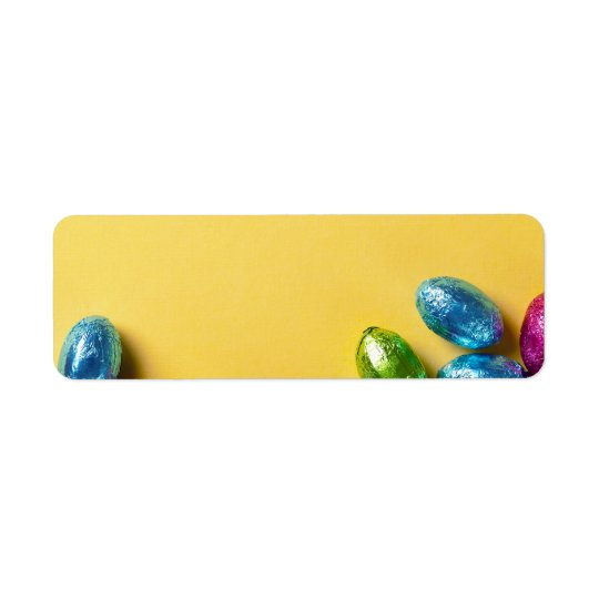 Easter Background With Colourful Chocolate Eggs Return Address Label