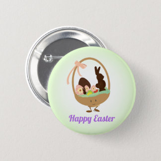 Easter Basket Cartoon with Words | Button