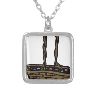 Easter Basket Silver Plated Necklace