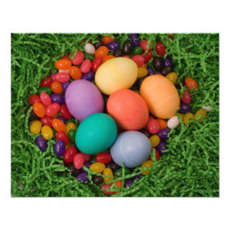 Easter Basket - Spring Colored Eggs Jelly Beans Art Photo