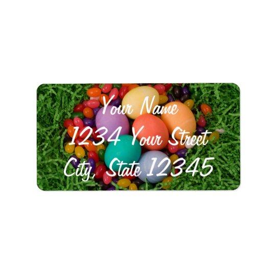 Easter Basket - Spring Coloured Eggs Jelly Beans Label