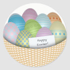 Easter Basket with Coloured Eggs Round Sticker